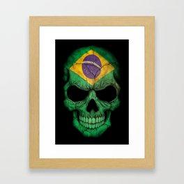 Dark Skull with Flag of Brazil Framed Art Print