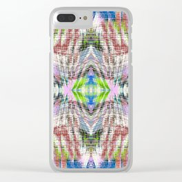 geometric symmetry pattern abstract background in pink blue green brown Clear iPhone Case