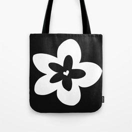 Black and White Plumeria Tote Bag