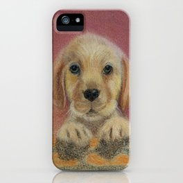 Puppy peeping over wall iPhone Case