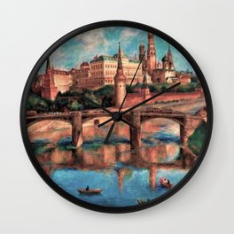 View of the Grand Kremlin Palace, Moscow, Russia by Pavel Sokolov-Skalya Wall Clock