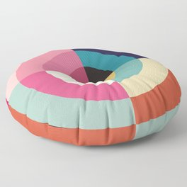 Summer - Colorful Classic Abstract Minimal Retro 70s Style Graphic Design Floor Pillow
