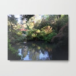 Kubota Garden pond with red bridge Metal Print
