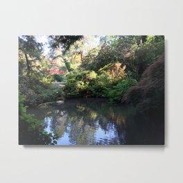 Kubota Garden pond with red bridge Metal Print