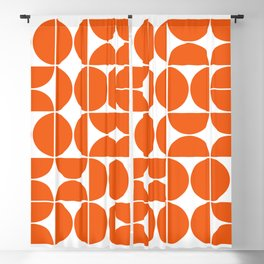 Mid Century Modern Geometric 04 Orange Blackout Curtain