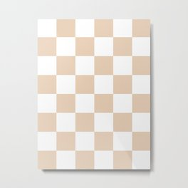 Large Checkered - White and Pastel Brown Metal Print