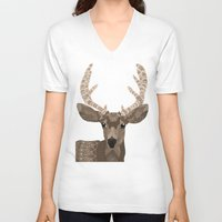 antlers V-neck T-shirts featuring Antlers by ArtLovePassion