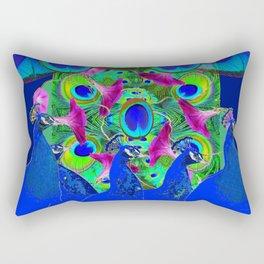 BLUE PEACOCKS & PURPLE MORNING GLORIES Rectangular Pillow