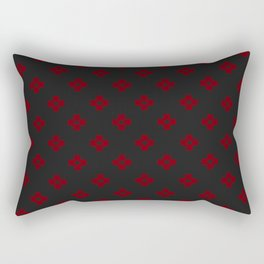 Phillip Gallant Media Design - Dark Red Design On Black Checkered With Black Rectangular Pillow