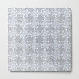 Lace Inspired Elegant Pattern - Grey Metal Print