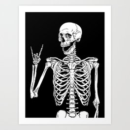 Rock and Roll Skeleton Art Print