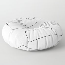 Eyes and Hands - Abstract Line Art Floor Pillow