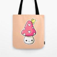 mushroom Tote Bags featuring Mushroom by Freeminds