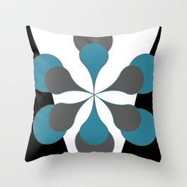 Mid-Century Modern Art 1.4B Grey Aqua Flower Throw Pillow