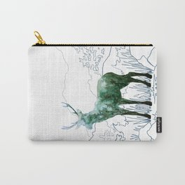 Watercolor Deer on Line Drawn Mountain Carry-All Pouch