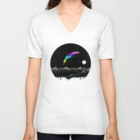 swimming V-neck T-shirts featuring Night Swimming by Octavia Soldani