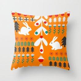 Sweet Christmas bunnies Throw Pillow