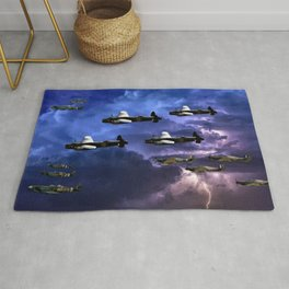 Lancaster Bombers With Spitfire Escorts Rug