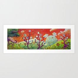 Meadow of strange trees Art Print