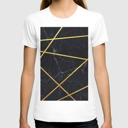 Black marble with gold lines T-shirt