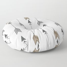 Vertical Arrow Patterns - Cream and Neutral Earth Tones Floor Pillow