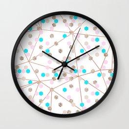 Modern elegant pink teal rose gold geometrical pattern Wall Clock