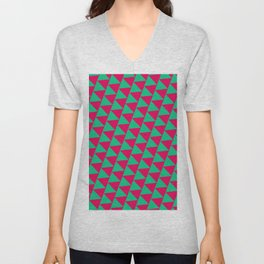 Green and pink triangle graphic Unisex V-Neck