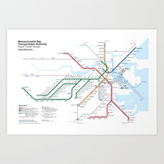 Boston Rapid Transit Map - Without Bus Routes Art Print