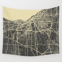 cleveland Wall Tapestries featuring Cleveland map by Map Map Maps