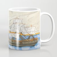 pirate ship Mugs featuring Pirate Ship At Sea by J&C Creations