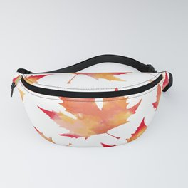 Maple leaves white Fanny Pack