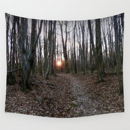 Turn Right at the Setting Winter Sun Wall Tapestry