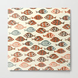 Fish pattern in abstract doodle style Metal Print