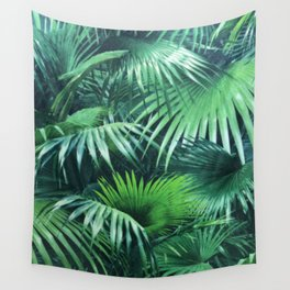 Tropical Botanic Jungle Garden Palm Leaf Green Wall Tapestry