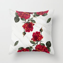 Red Roses - White Marble Throw Pillow