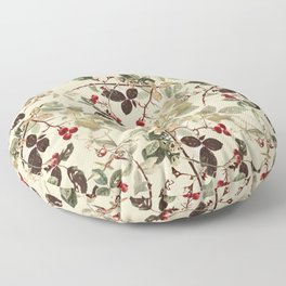 Vintage ivory red green forest berries floral Floor Pillow