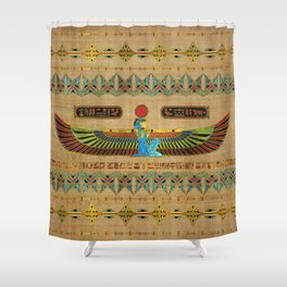 Egyptian Goddess Isis Ornament on papyrus Shower Curtain
