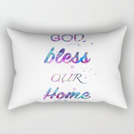 God Bless Our Home Print Watercolor Giclee Wall Art Home Decor Rectangular Pillow