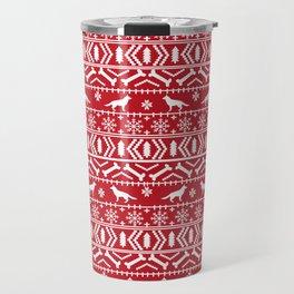 German Shepherd fair isle christmas pattern dog gifts dog breeds pet art holiday red and white Travel Mug