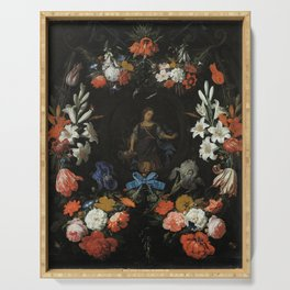 Abraham Mignon - Garland of Flowers (1675) Serving Tray
