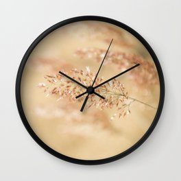 Macro Close Up Beige Nature Country Field Grass Karl Foerster Grass Lustre Print Wall Clock