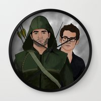sterek Wall Clocks featuring Arrow!Sterek by Finduilas