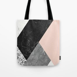 Black and White Marbles and Pantone Pale Dogwood Color Tote Bag