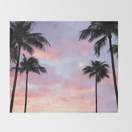 Palm Trees and Sunset Throw Blanket