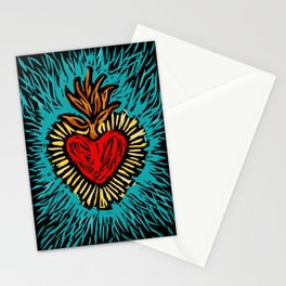 Sacred Heart linocut woodcut Stationery Cards