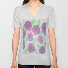 Purple Rose Pattern Unisex V-Neck