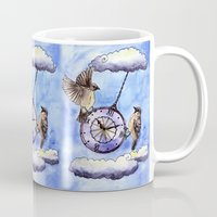 clock Mugs featuring Clock by Anna Shell