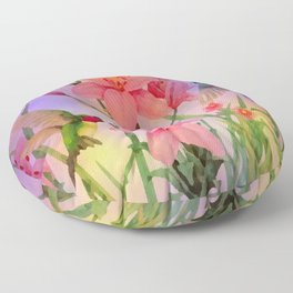Painterly Hummingbirds And Flowers Floor Pillow