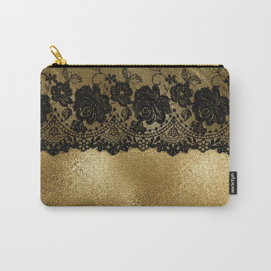 Black luxury lace on gold glitter effect metal- Elegant design on #Society6 Carry-All Pouch