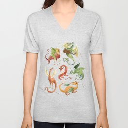 Medieval Chilli Dragons Unisex V-Neck